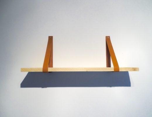 Wandplank met leren plankdragers - Wink of Sara