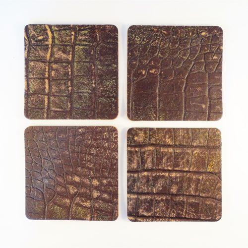 leren onderzetters voor glazen krokodilreliëf bruin goud
