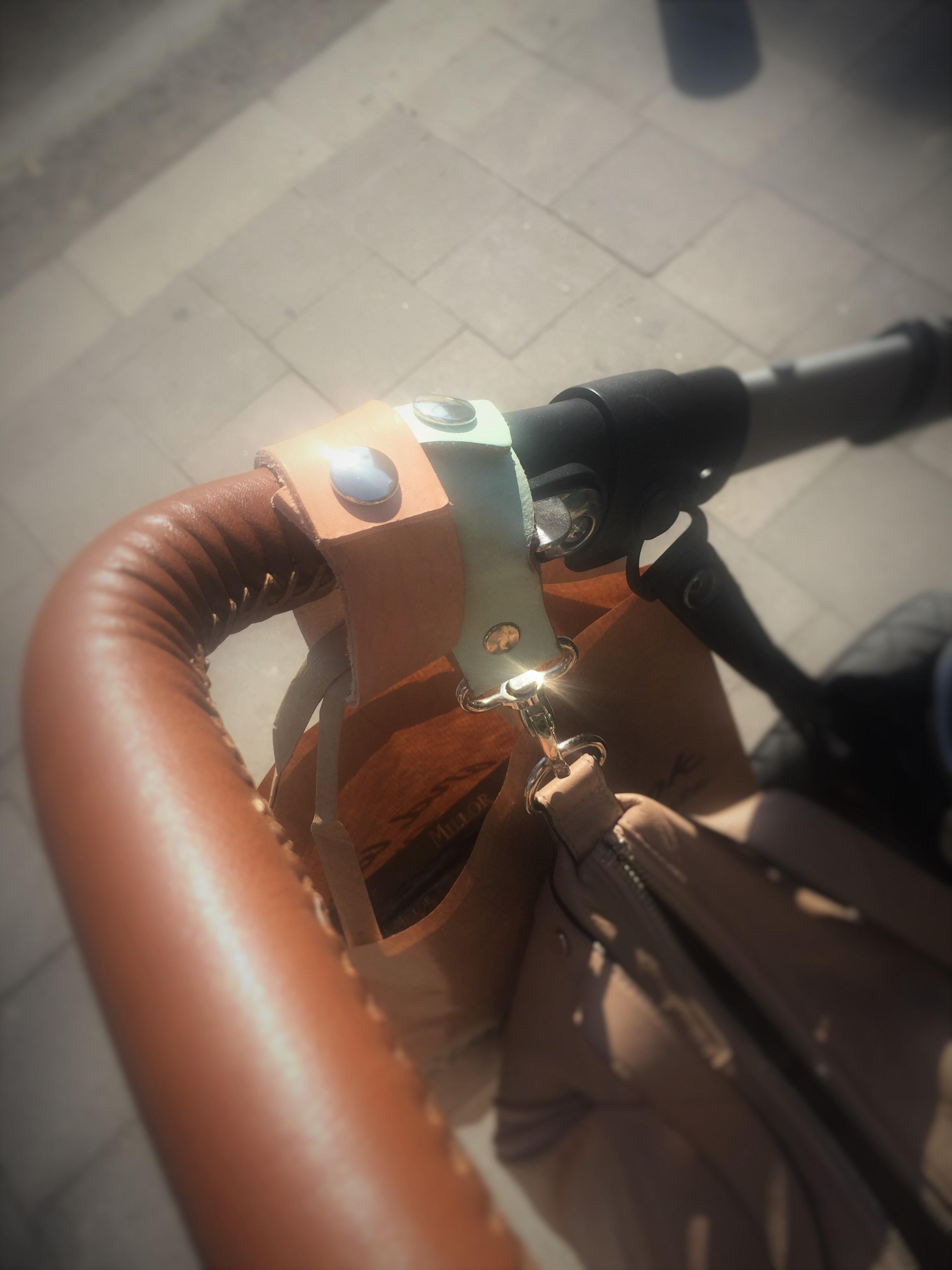 Leren Tassendragers Kinderwagen Croco Bruin