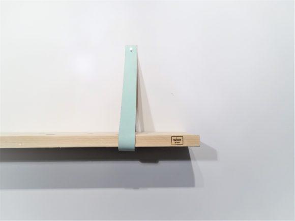 wandplank leren plankdragers babyblauw