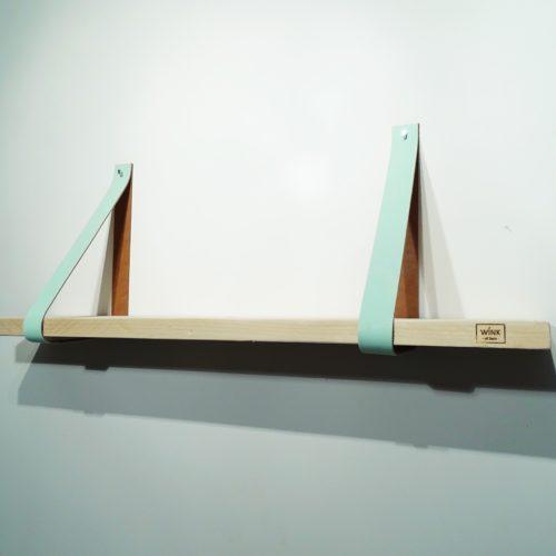 wandplank leren plankdragers mint