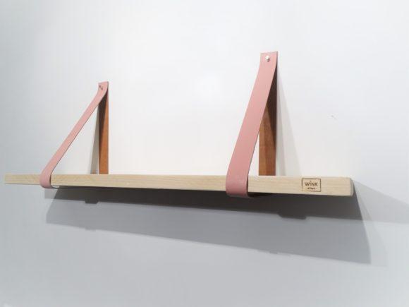 wandplank leren plankdragers babyroze