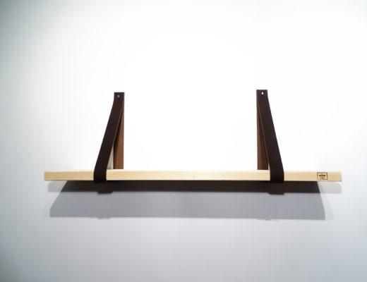 leren plankdragers wandplank bruin