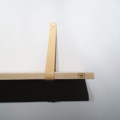 Wandplank leren plankdragers perzik