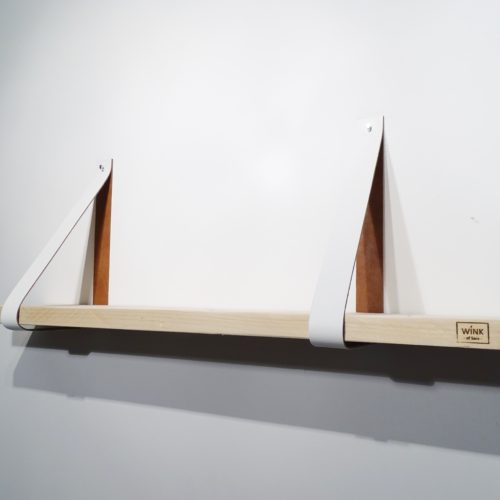 leren band wandplank wit