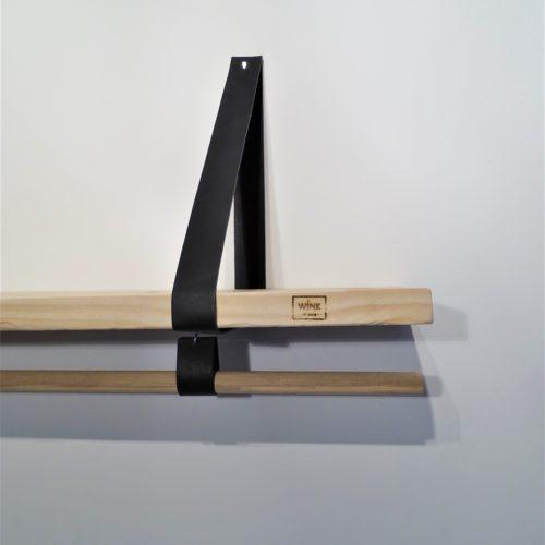Wandplank leren banden met roede zwart