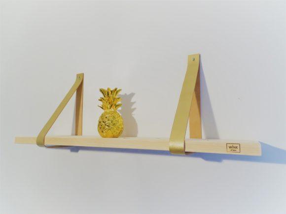 Wandplank leren plankdragers goud