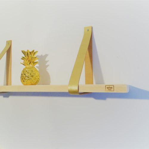 Wandplank leren banden goud