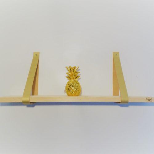 wandplank leren riemen goud ananas