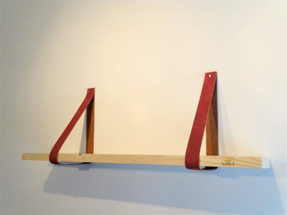 Steigerhout Wandplank leren plankdragers Marsala