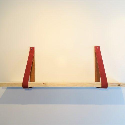 Wandplank met leren plankdragers Marsala