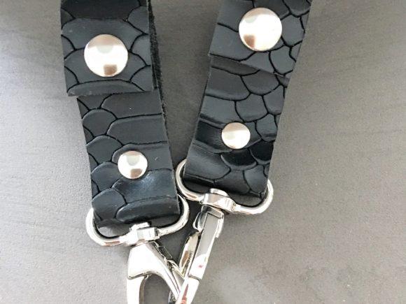 leren tassendragers kinderwagen zwart croco