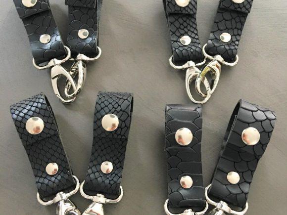 leren tassenhangers kinderwagen zwart croco